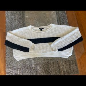 Cream & black striped cropped sweater